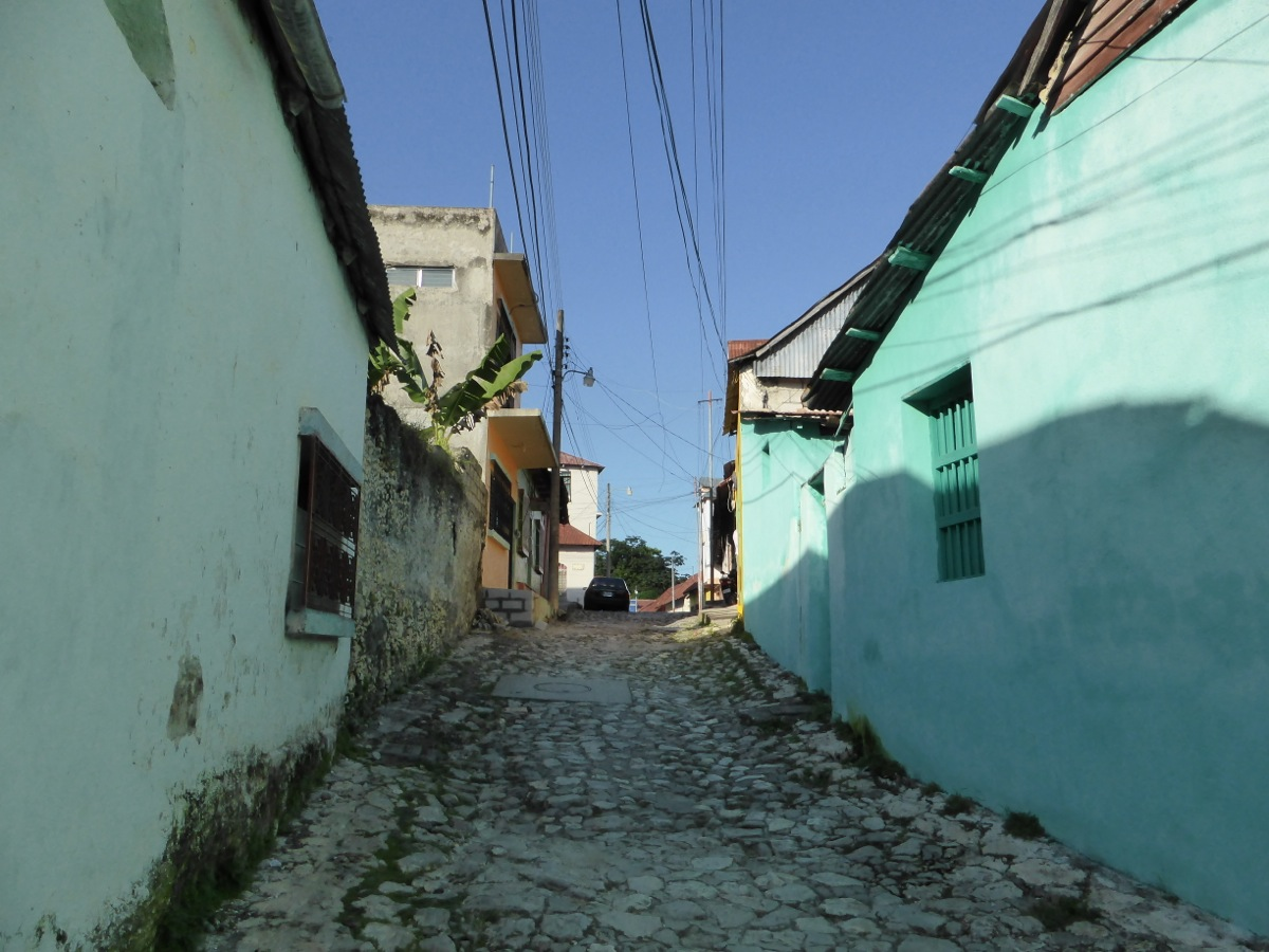 Lane with coloured buildings and cobblestone roads in Flores