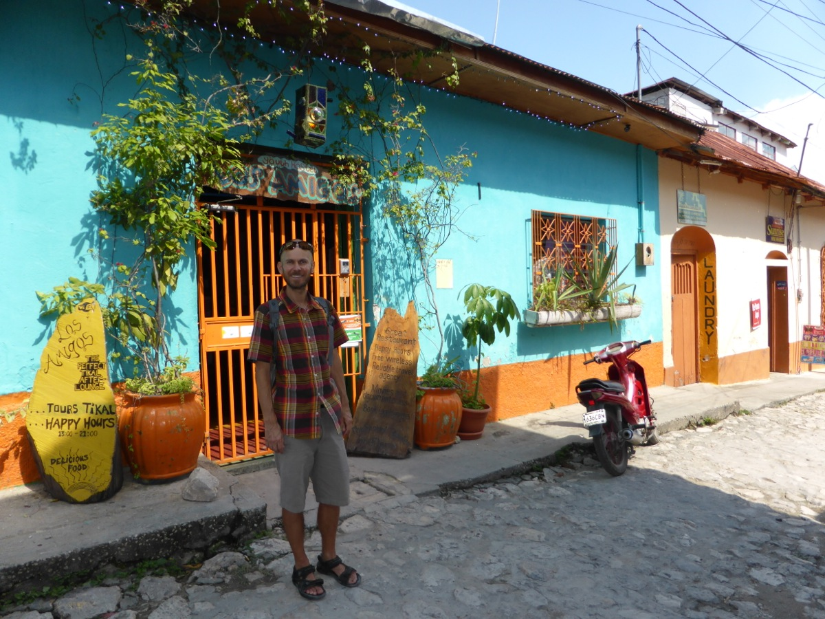 Outside Los Amigos Hostel