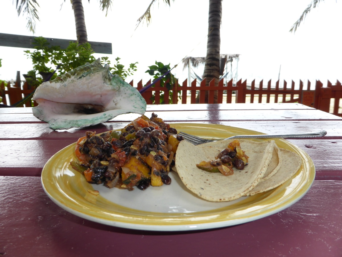 Home cooking at Yuma's House Hostel: beans, veggies and tortillas - fresh and fantastic with an oceanfront view!
