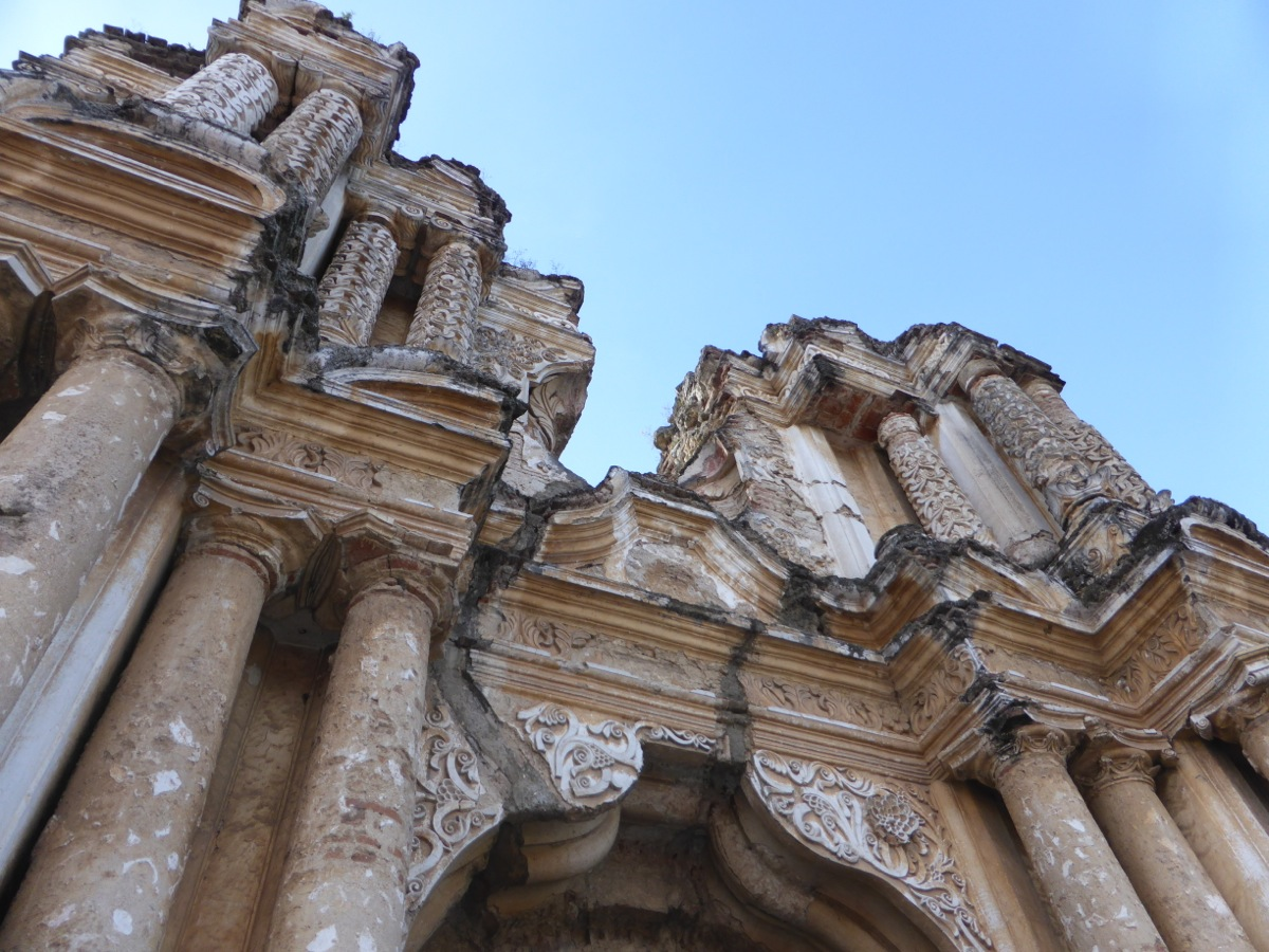 Church ruins with ornate details still in tact