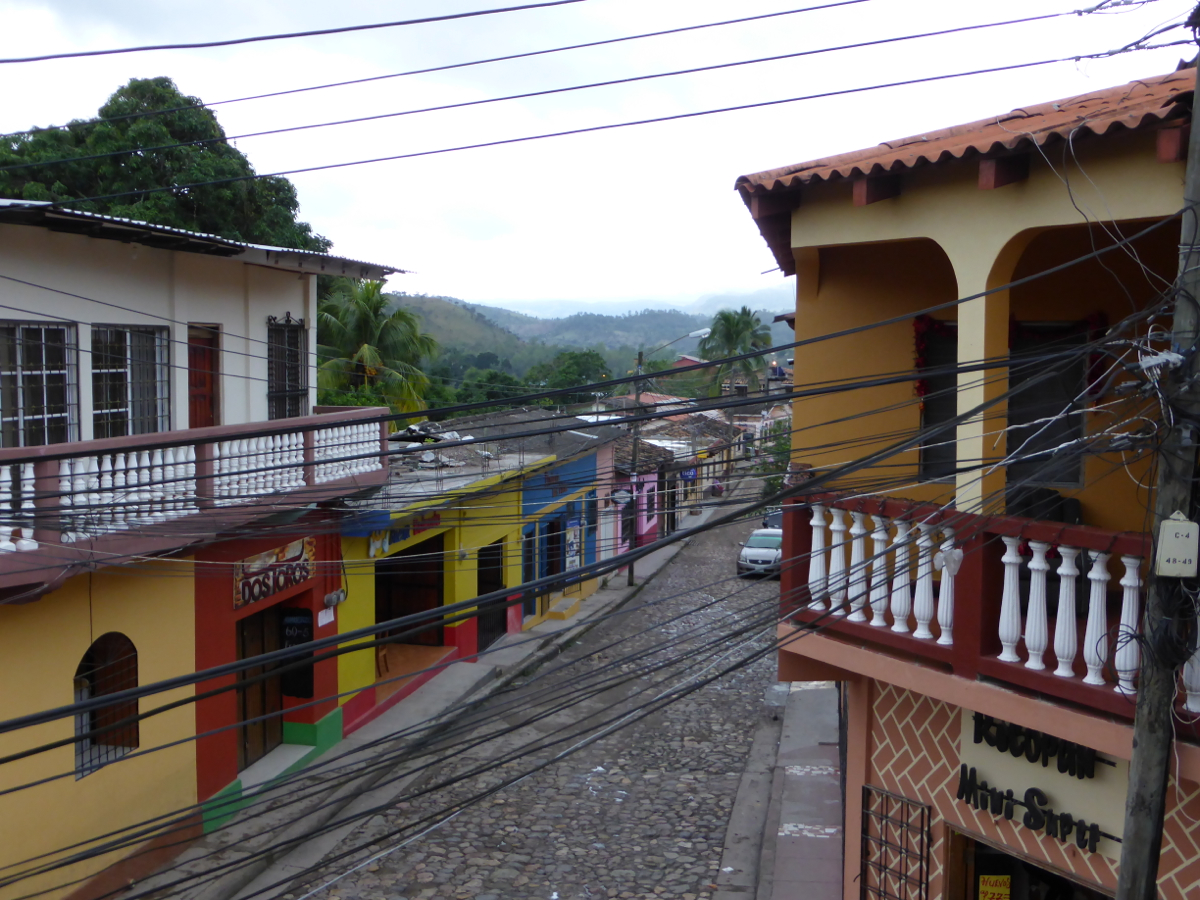 Balcony view of a typical Copan Ruinas street
