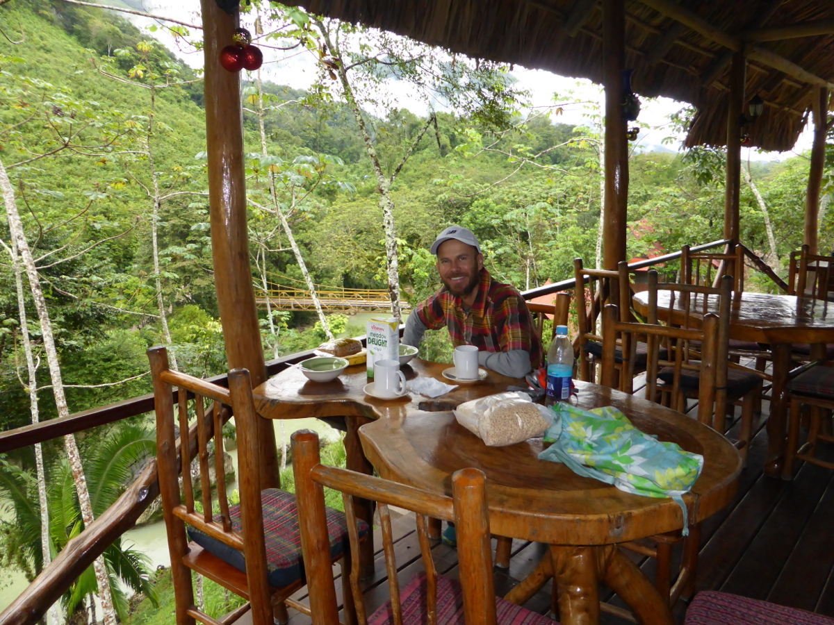 Breakfast on the deck at El Portal Hostel in Semuc Champey - granola, Cheerios, soy milk, bananas and coffee
