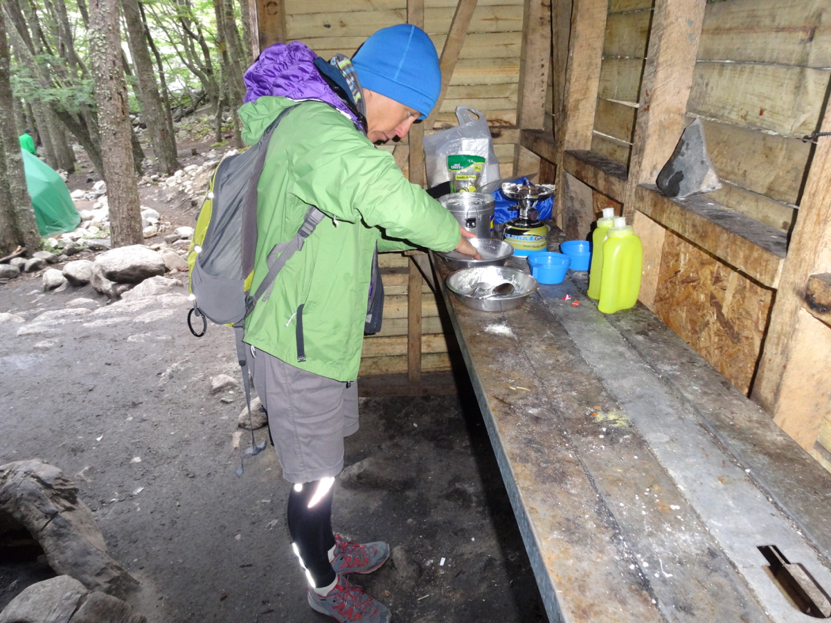 The cooking shelter at Campamento Torres