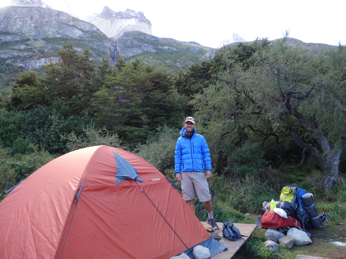 Setting up camp at Los Cuernos
