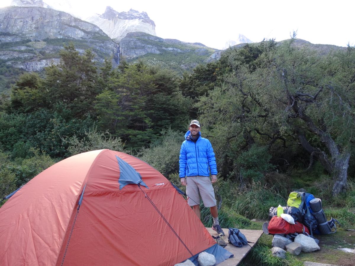 Setting up camp at Los Cuernos