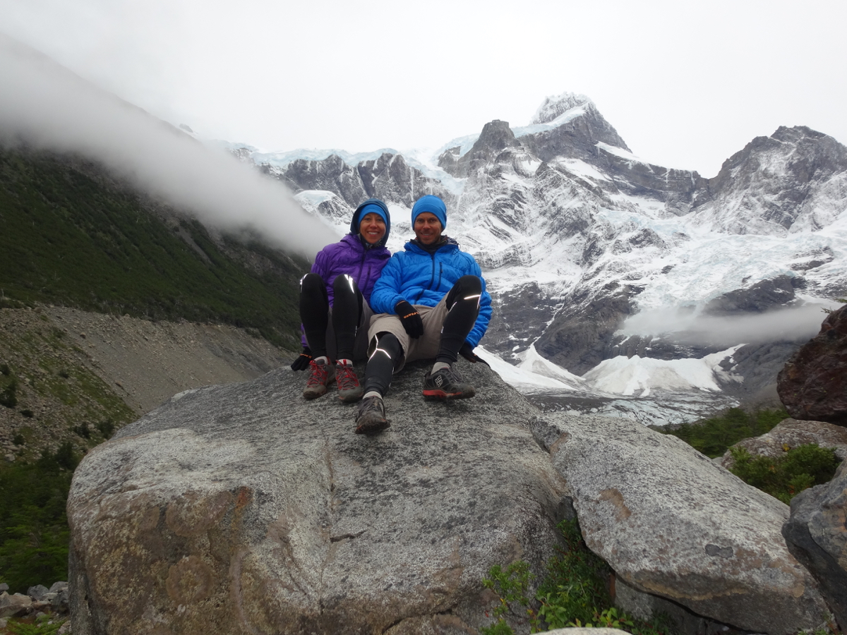 A special little rest on our 16-km out and back run up the French Valley with the breathtaking Glacier del Frances as our backdrop
