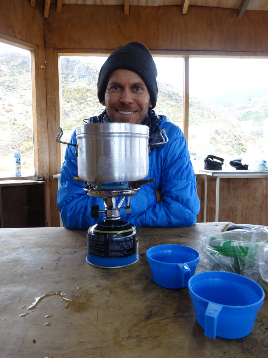 Our fantastic gas stove and versatile pot/kettle/serving dish in the communal kitchen at Refugio Paine Grande