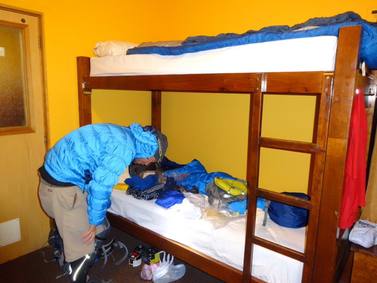 Warm and comfy in our dorm room at Refugio Paine Grande on our last night in the park
