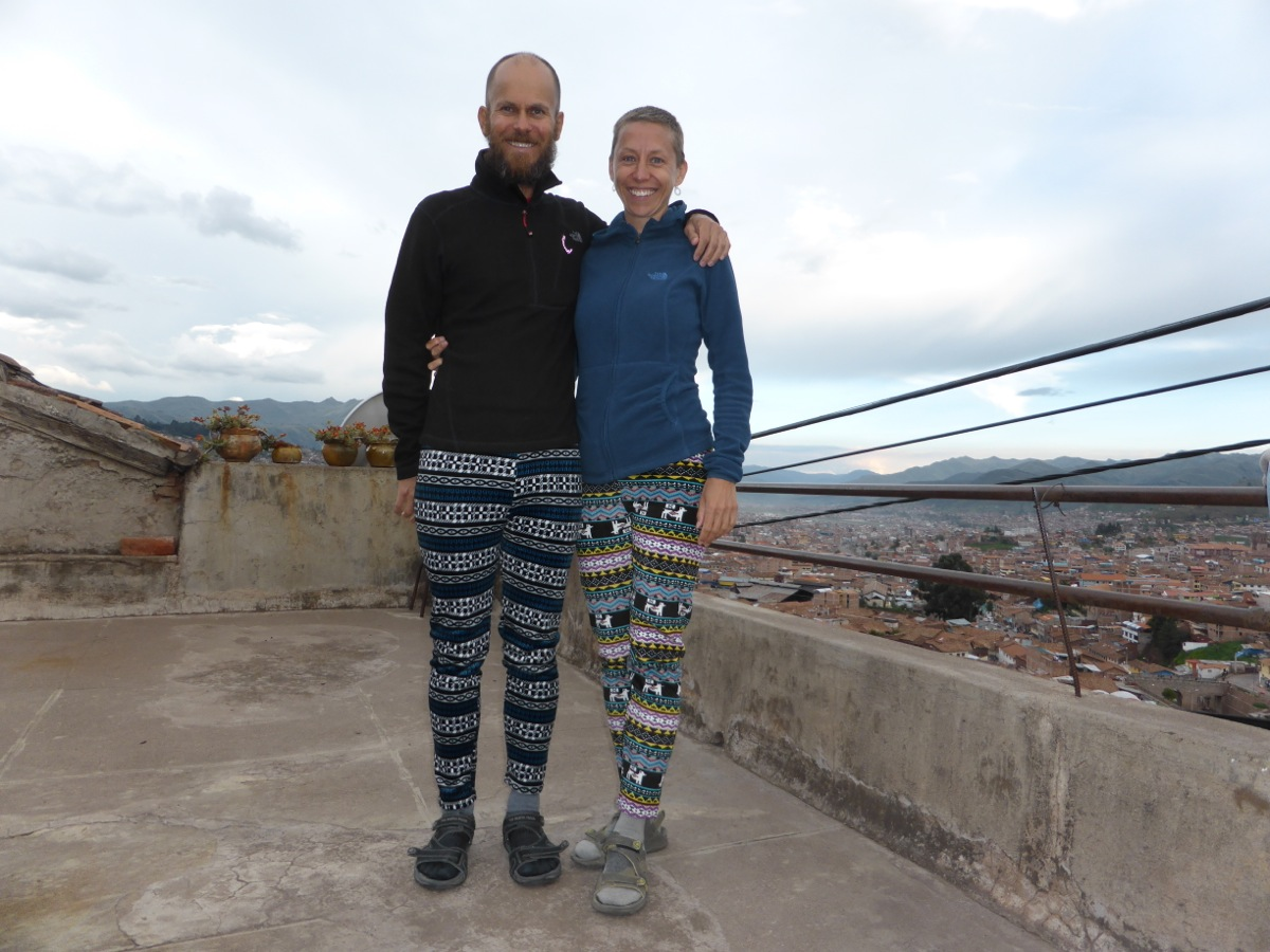 Our much needed cozy pants in freezing Cusco (a selfie taken on the patio at our hostel)!