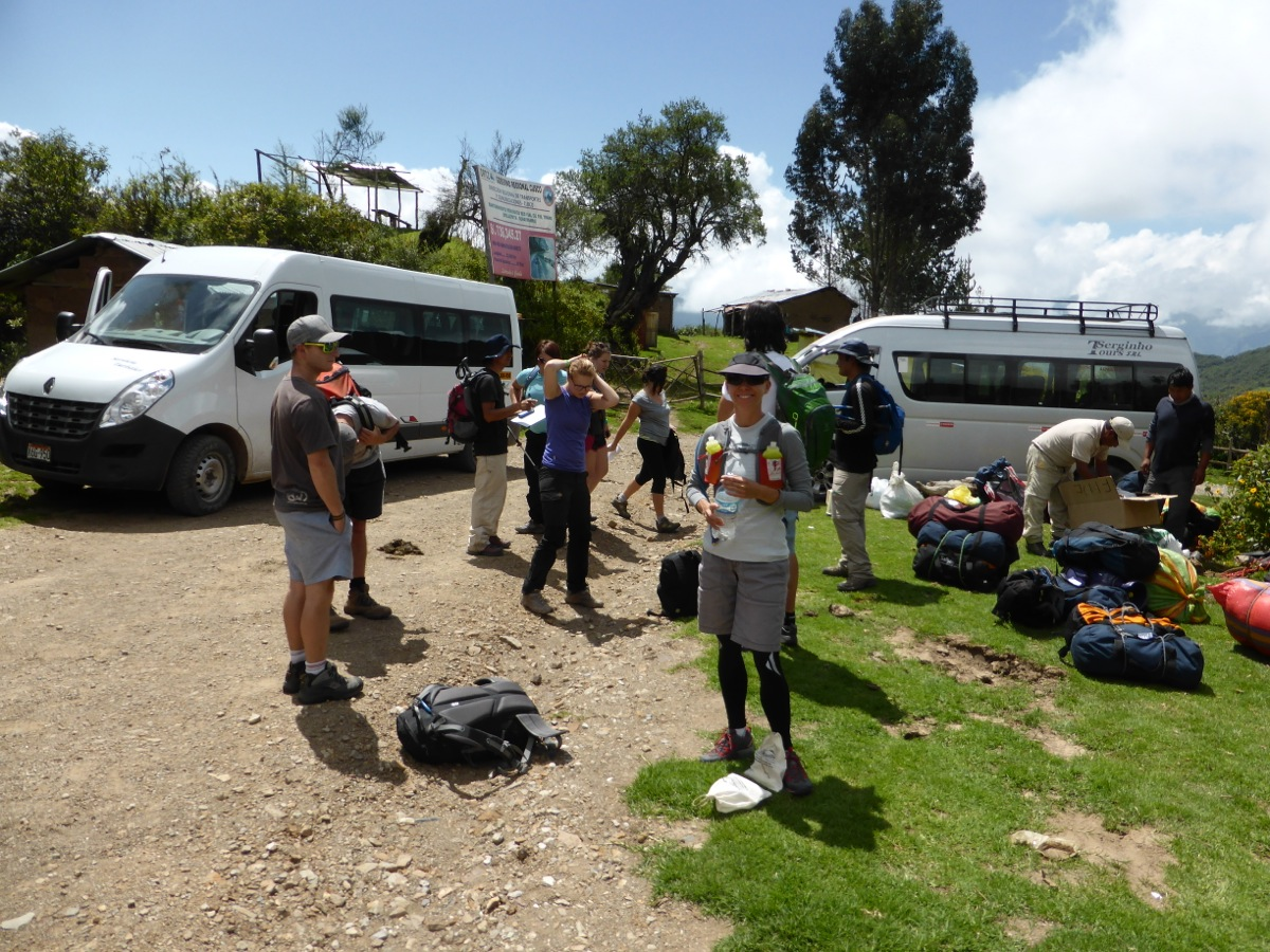 Getting ready for our first day's hike