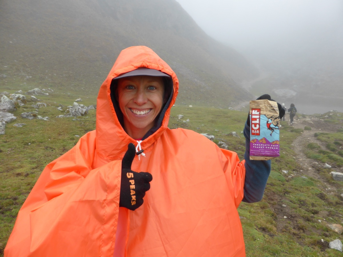 At the top of the hardest climb and ready to tuck into our last Clif Bar!