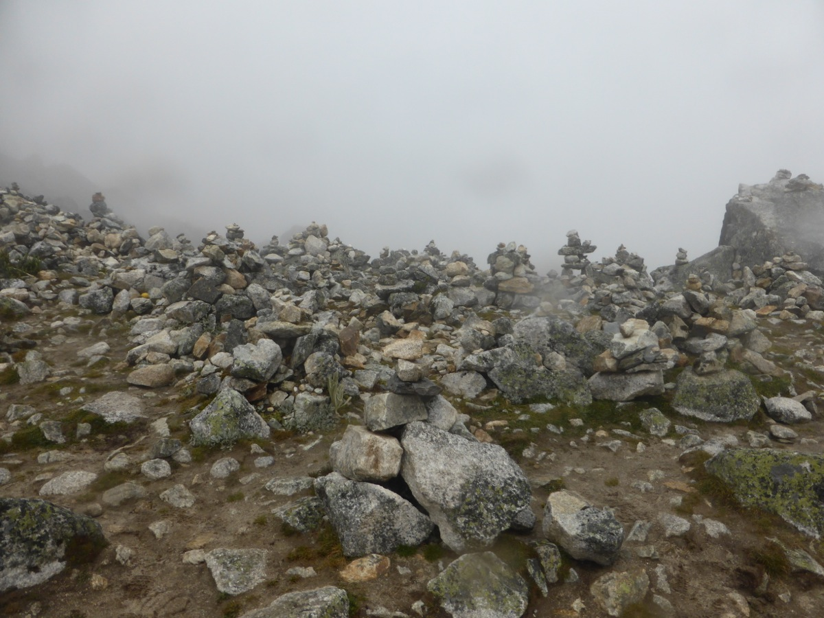 "Stone cairns laid to honour ""Pachamama"" or Mother Earth"
