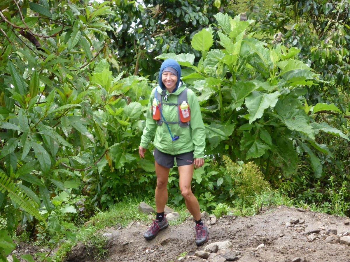 Bev back on her feet after a slip-n-slide in the mud