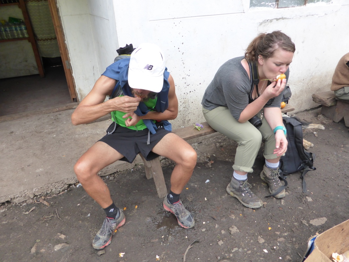 Richard and Laura enjoying a refreshing treat of local passionfruit