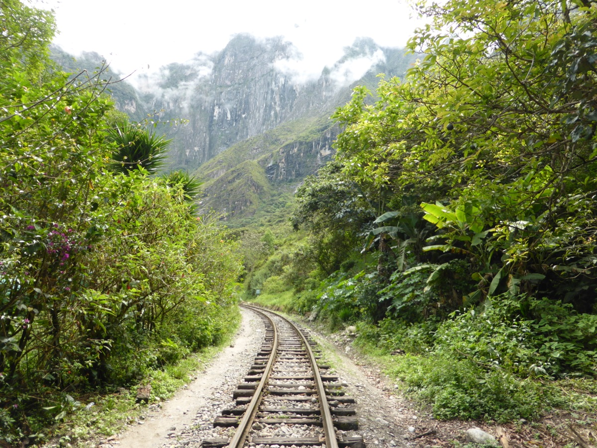 Following the train tracks to Aguas Calientes - our final stop before Machu Picchu