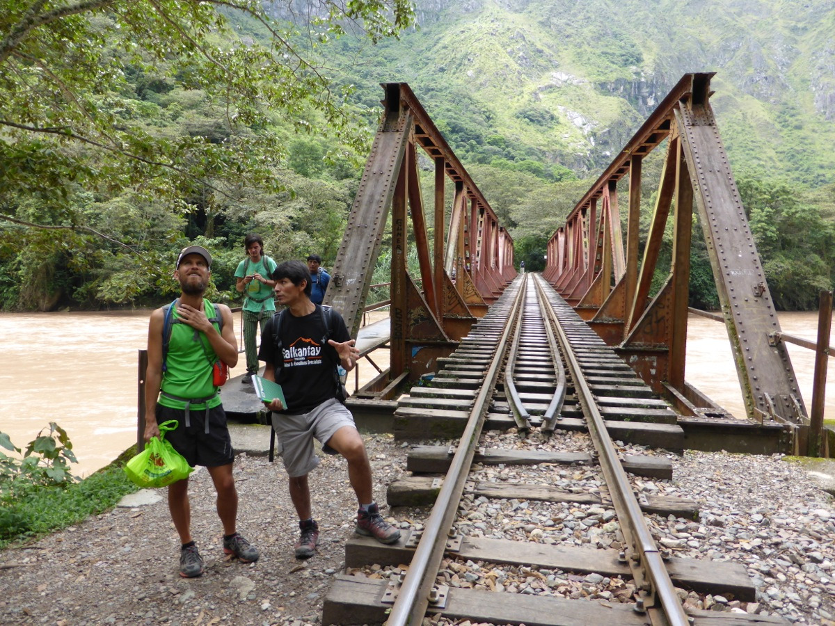 A river crossing with rail bridge