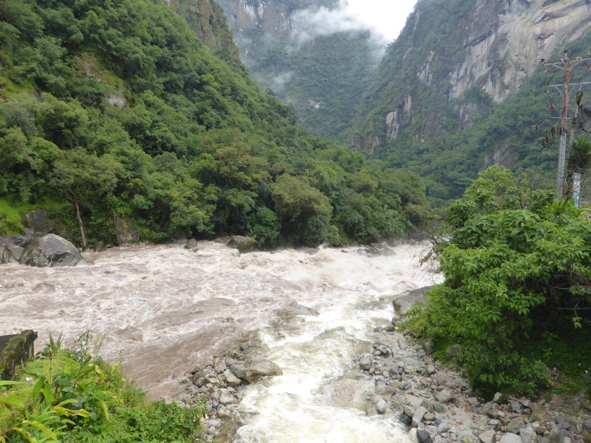 The raging Urubamba River alongside Aguas Calientes - now that's white water!