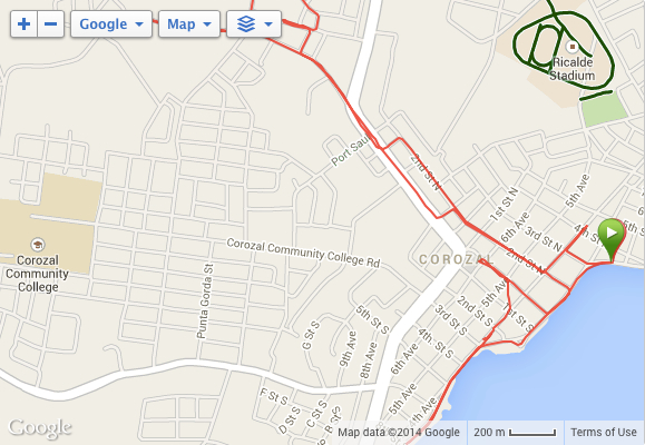 Garmin map of short 9K run in Corozal
