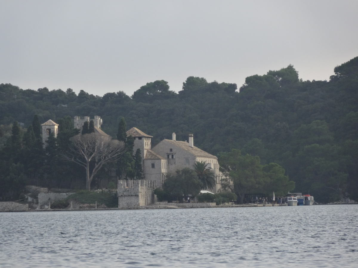 The monastery of Santa Maria built on an island within the large lake