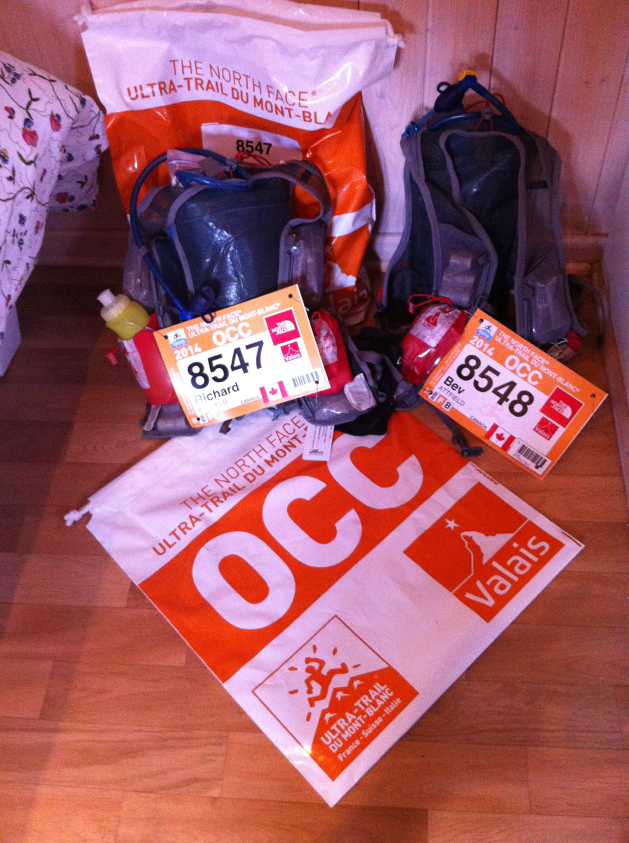 Our race packs (and spares bags), ready to rumble
