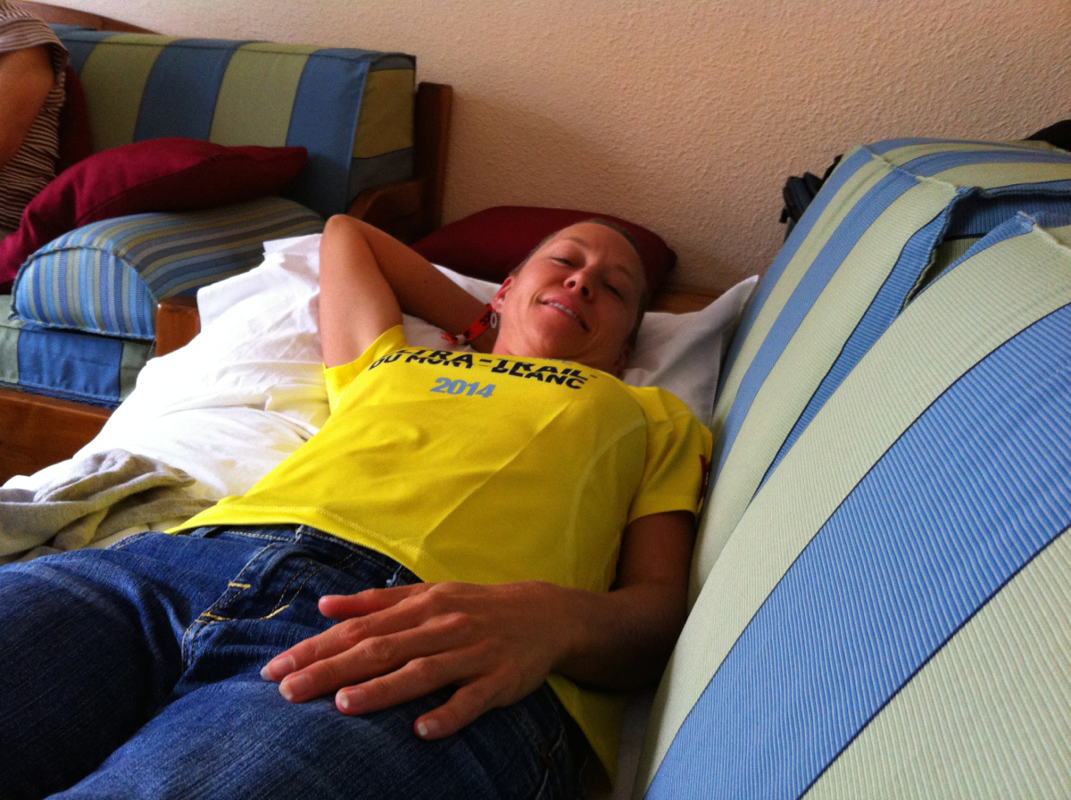 Bev taking a special recovery nap the day after the race