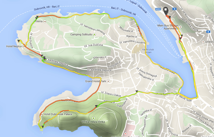 Suunto Movescount Map of Dubrovnik run