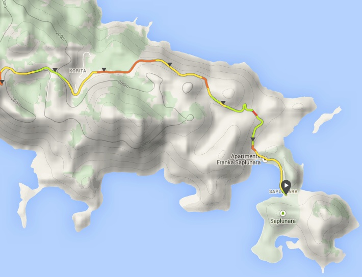Partial route from Sobra to Saplunara