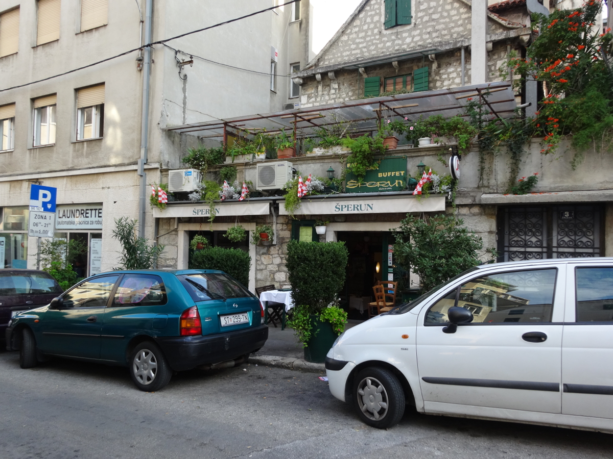Quaint local restaurant Sperun, hidden off the main tourist promenade in Split