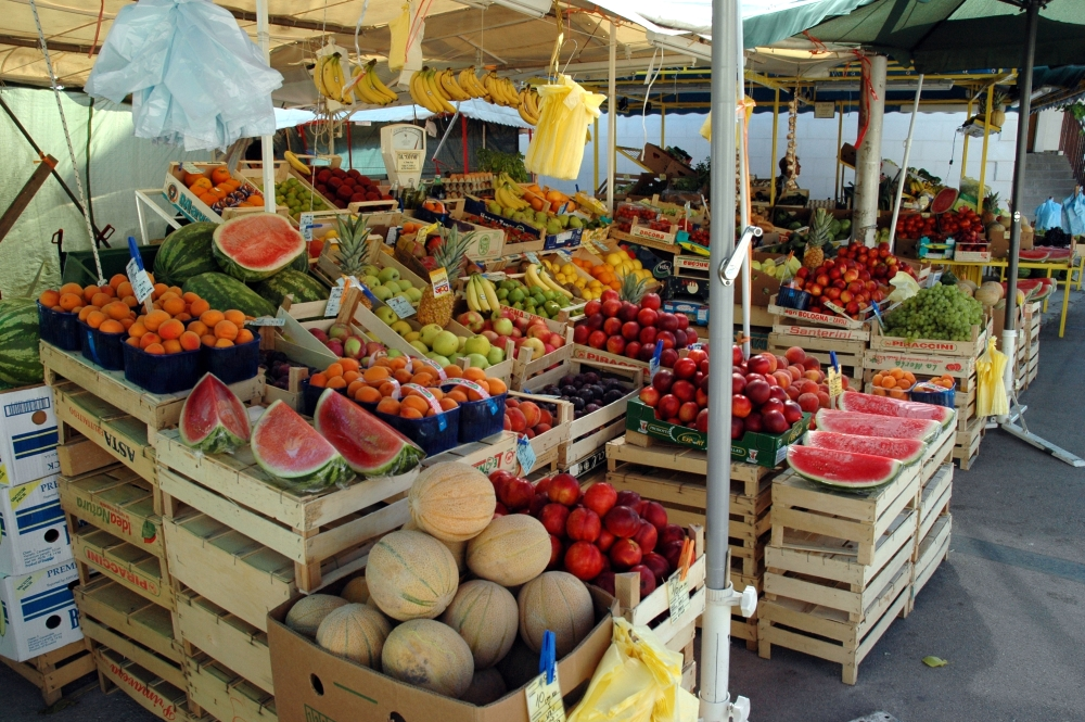"The ""green market"" in Split next to Diocletian's Palace"
