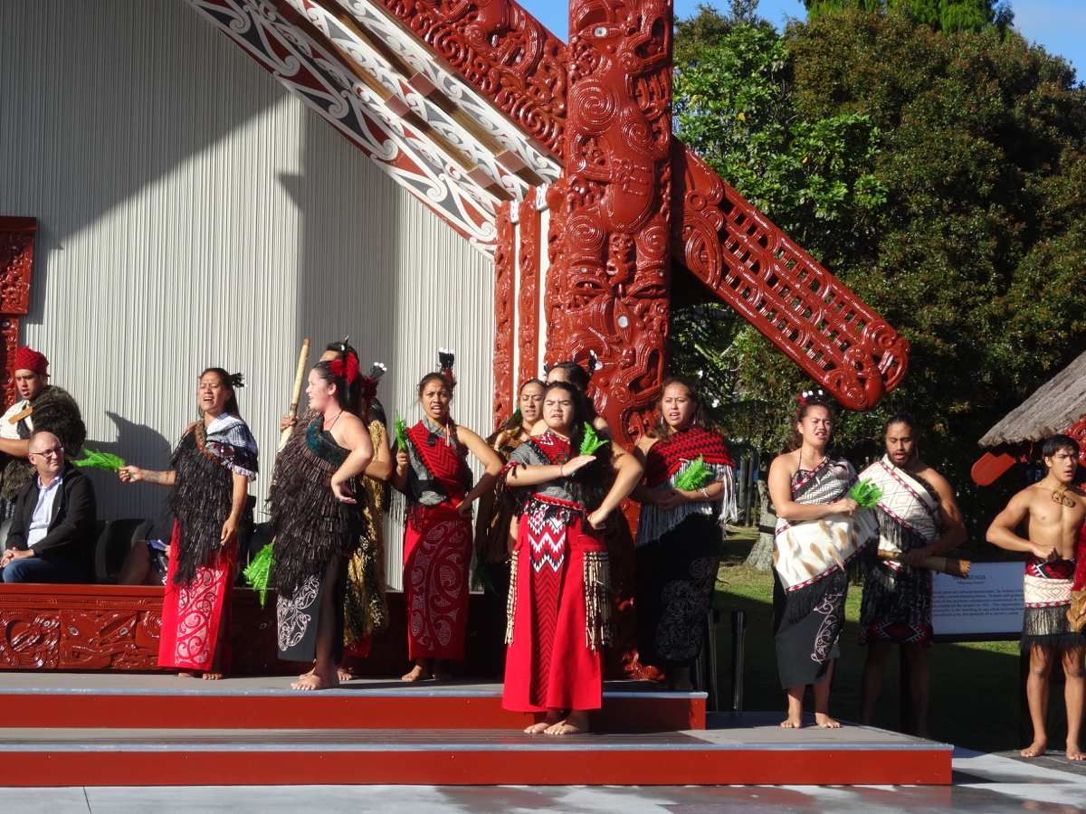 Traditional dancers performing during the welcome ceremony at Te Puia